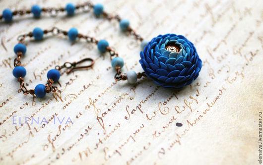 Кулоны, подвески ручной работы. Ярмарка Мастеров - ручная работа. Купить Кулон из полимерной глины Синее море. Handmade. Синий