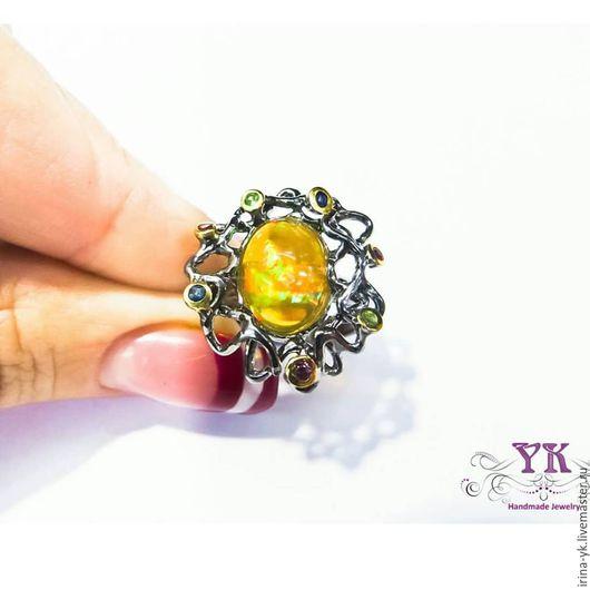 Кольца ручной работы. Ярмарка Мастеров - ручная работа. Купить Шикарное кольцо из серебра, опала и натуральных камней. Handmade. Желтый