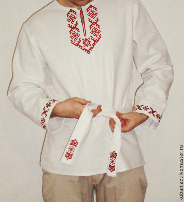 Russian shirt with embroidery 'Radomir', People\\\'s shirts, Starominskaya,  Фото №1
