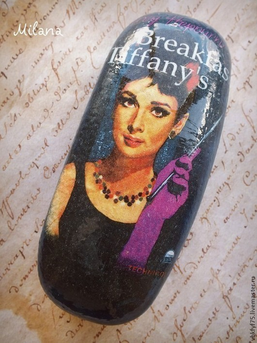 очешник с Одри Хепберн, очечник, очешники декупаж, очечники декупаж, очешник в подарок, стильный очечник, красивый очешник, яркий очешник