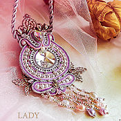 Украшения handmade. Livemaster - original item Soutache pendant lilac. soutache. Pendant bead. Handmade.