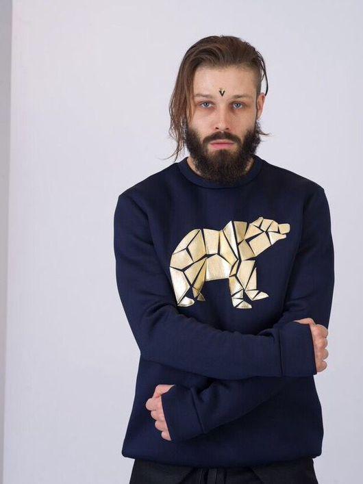 Кофты и свитера ручной работы. Ярмарка Мастеров - ручная работа. Купить Дизайнерский тёмно-синий свитшот с кожаной аппликацией. Handmade.