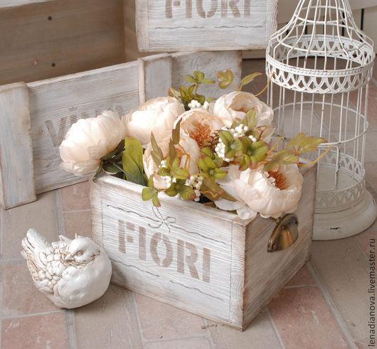"""Корзины, коробы ручной работы. Ярмарка Мастеров - ручная работа. Купить Ящик для цветов """"FIORI"""". Handmade. Белый, прованс, стиль"""