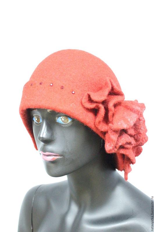 Шляпы ручной работы. Ярмарка Мастеров - ручная работа. Купить Шляпа валяная. Handmade. Бордовый, стразы, кардочес, шерсть 100%