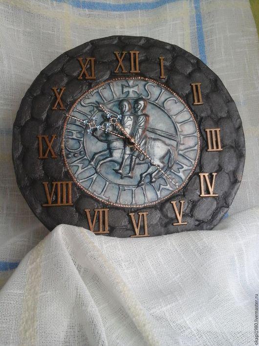 Часы для дома ручной работы. Ярмарка Мастеров - ручная работа. Купить Часы настенные Тайны тамплиеров. Handmade. Коричневый