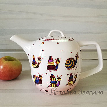 Tableware handmade. Livemaster - original item Kettles: Teapot with hand-painted Snails. Gift.. Handmade.