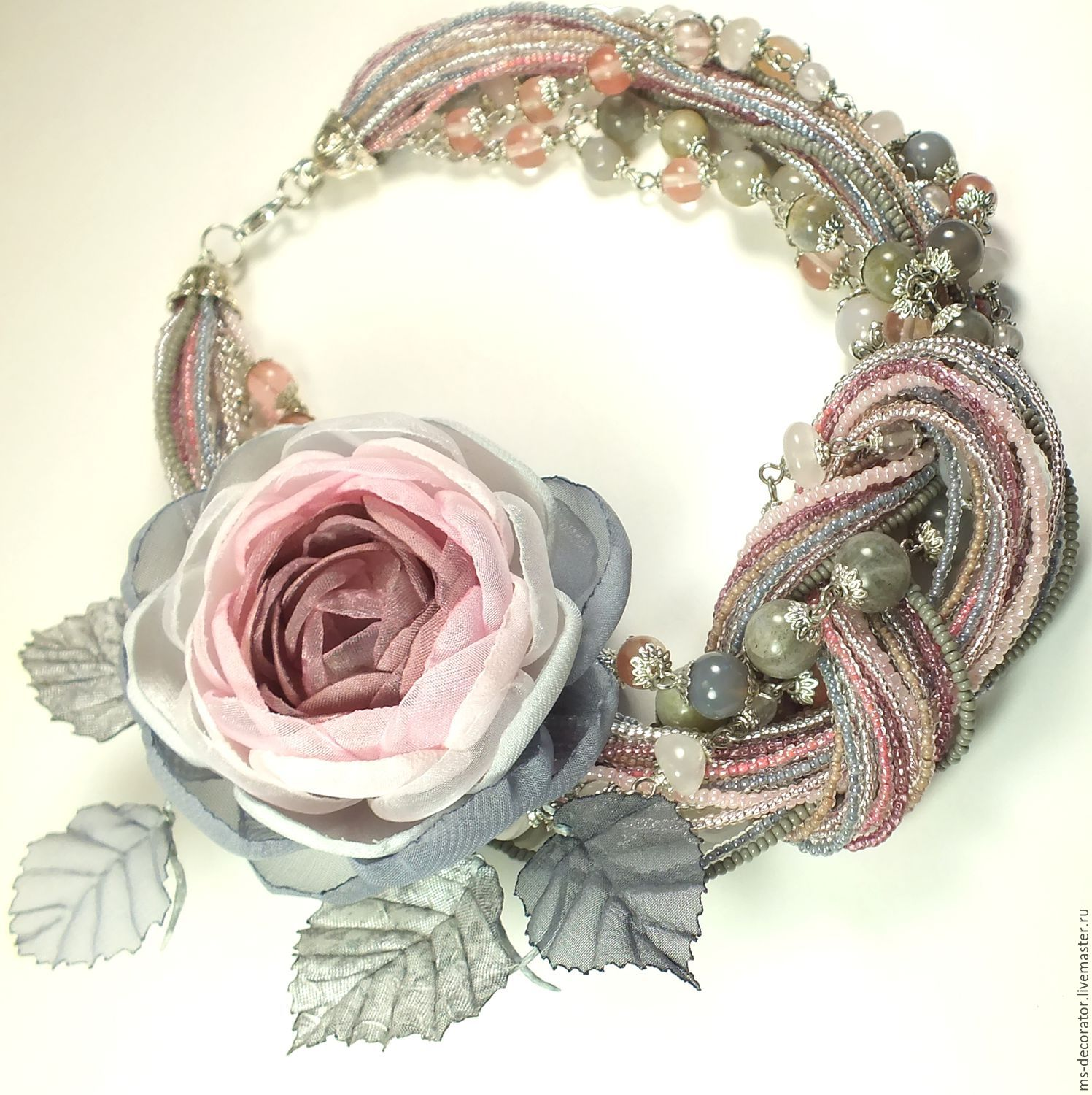 Smoky - Rose Garden. Necklace and brooch, Jewelry Sets, St. Petersburg,  Фото №1
