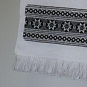 Русский стиль handmade. Livemaster - original item Towels: The towel is embroidered in black color. Handmade.
