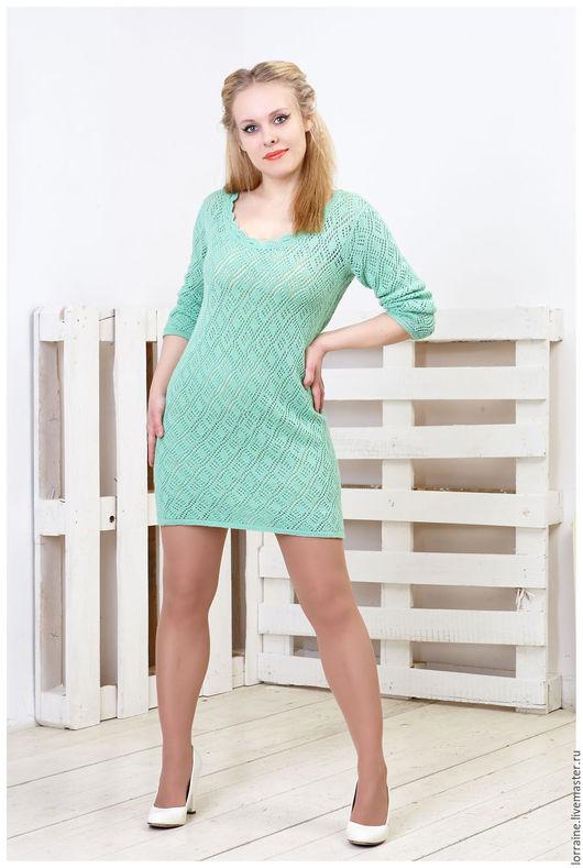 Вязаное платье, платье вязаное, ажурное платье, платье ажурное, шерстяное платье, платье шерстяное, короткое платье, платье короткое, классическая модель, светло-зеленый, повседневное платье, весна