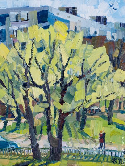 Анна Крюкова (impression-живопись) Картина яркая в подарок Весенний пейзаж картина Купить картину весна маслом Молодая зелень дерево
