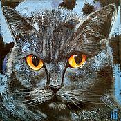 Pictures handmade. Livemaster - original item Oil painting Hippo cat, black British cat on canvas. Handmade.