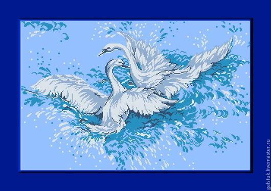 Схема вышивки бисером `Неразлучные лебеди` с полной зашивкой бисером