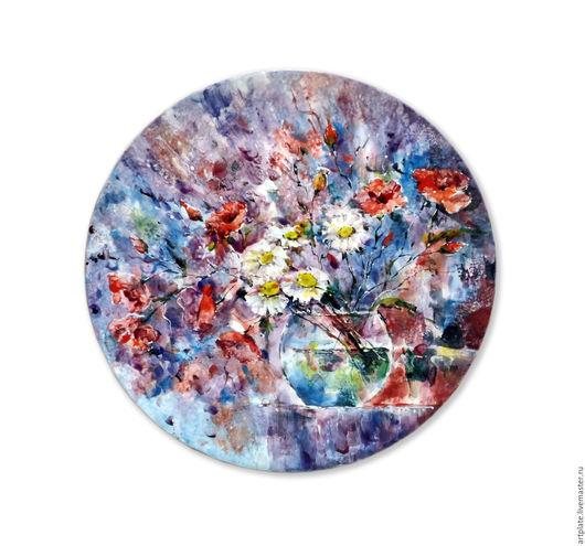 Керамическая тарелка `Ромашки`. Керамика ручной работы. Ярмарка мастеров.