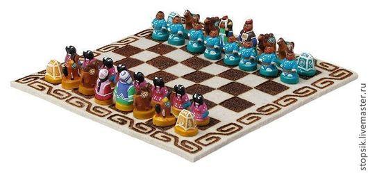 Настольные игры ручной работы. Ярмарка Мастеров - ручная работа. Купить Шахматы Монгольские цветные (войлок, средние) 26873). Handmade.