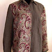 Одежда ручной работы. Ярмарка Мастеров - ручная работа Рубашка лен+дикий шелк женская бохо. Handmade.