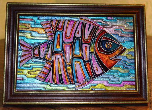 Животные ручной работы. Ярмарка Мастеров - ручная работа. Купить Рыбка. Handmade. Разноцветный, яркий, рыбка, картина, картина для интерьера