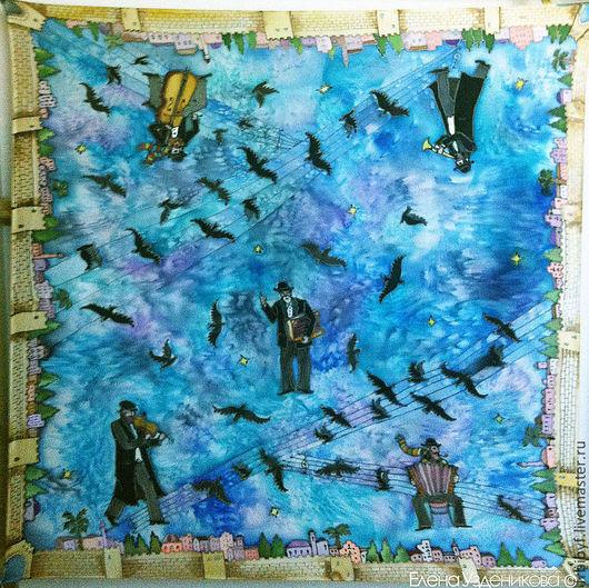 """Шали, палантины ручной работы. Ярмарка Мастеров - ручная работа. Купить Батик платок """"Музыка"""". Handmade. Тёмно-синий"""