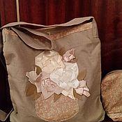 Классическая сумка ручной работы. Ярмарка Мастеров - ручная работа Сумочка летняя декорированная аппликацией лентами. Handmade.