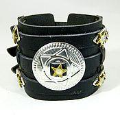 Субкультуры handmade. Livemaster - original item Leather bracelet in the style of bike