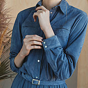 """Рубашки ручной работы. Ярмарка Мастеров - ручная работа Рубашка: Цвет """"Голубой камень"""". Handmade."""