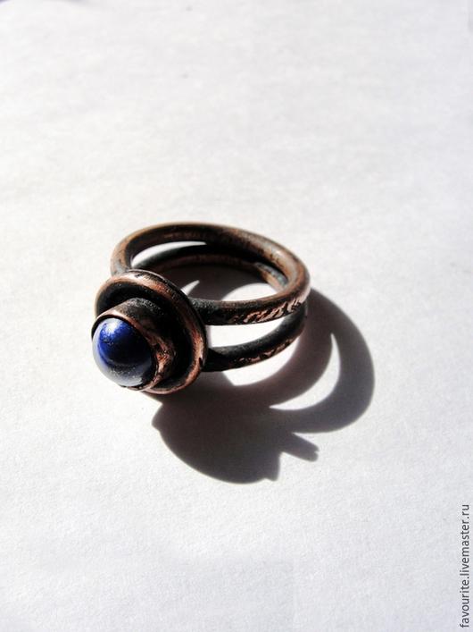 """Кольца ручной работы. Ярмарка Мастеров - ручная работа. Купить Кольцо медное """"Этно-1"""" с афганским лазуритом. Handmade."""