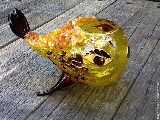 """Вазы ручной работы. Ярмарка Мастеров - ручная работа. Купить Вазочка""""Рыбка моя"""". Handmade. Желтый, рыба, подарок на день рождения"""