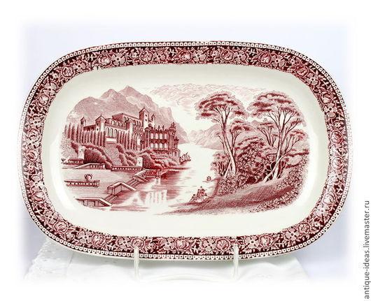 """Винтажная посуда. Ярмарка Мастеров - ручная работа. Купить Сервировочное блюдо """"Old England"""", Голландия. Handmade. Бордовый, керамика"""