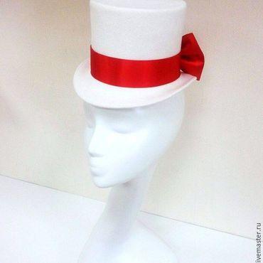 Свадебный салон ручной работы. Ярмарка Мастеров - ручная работа Свадебный цилиндр с бантом сзади. Красно-белый. Handmade.