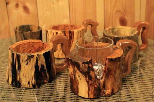 Декоративная посуда ручной работы. Ярмарка Мастеров - ручная работа. Купить Дикие подстаканники. Handmade. Бежевый, дерево, природные материалы