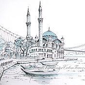 Картины и панно ручной работы. Ярмарка Мастеров - ручная работа Акварель Стамбул. Мост через Босфор.. Handmade.