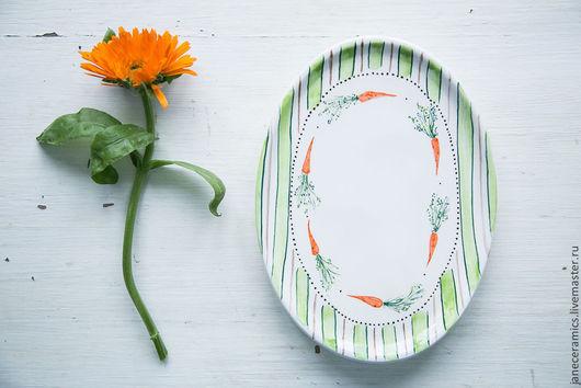 Тарелки ручной работы. Ярмарка Мастеров - ручная работа. Купить Морковная радость! Сервировочная тарелка, керамика. Handmade. Керамика, посуда