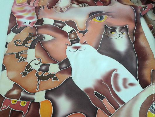 """Шарфы и шарфики ручной работы. Ярмарка Мастеров - ручная работа. Купить Котошарф """"КАКАО-КОТЫ"""" (батик). Handmade. Коты, Батик"""