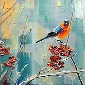 Картины и панно handmade. Livemaster - original item Oil painting bullfinch on branch of Rowan. Handmade.