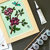 """Картины и панно ручной работы. Ярмарка Мастеров - ручная работа """"Цветы и стрекоза"""" набор для росписи по стеклу. Handmade."""