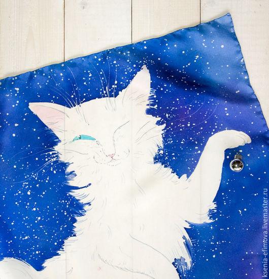 Шали, палантины ручной работы. Ярмарка Мастеров - ручная работа. Купить Снежный кот. Handmade. Синий, зимний платок, Батик