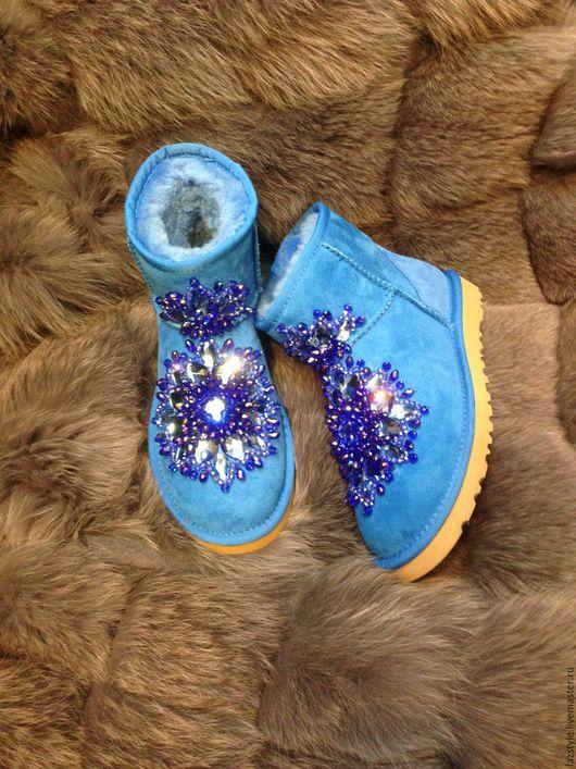 Обувь ручной работы. Ярмарка Мастеров - ручная работа. Купить Эксклюзивные Ugg's U-6. Handmade. Синий, угги сваровски