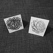 Открытки ручной работы. Ярмарка Мастеров - ручная работа Чёрно-белая мини-открытка (5,5х6 см). Handmade.