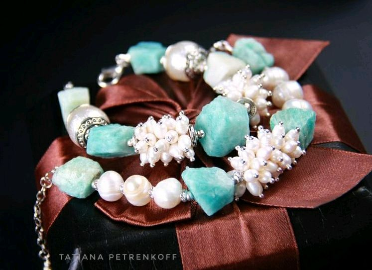 'Amazon' amazonite, pearl. Set of two bracelets, Bracelet set, Moscow,  Фото №1