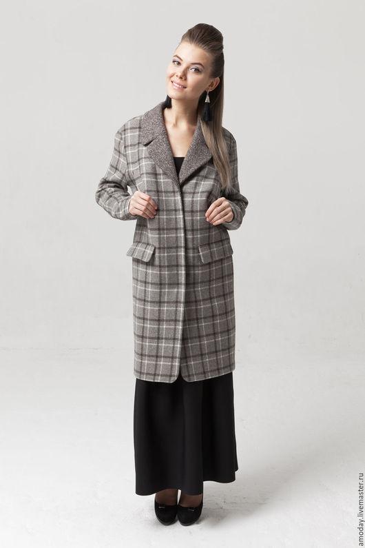 Пальто из шерсти пальто стильное дизайнерское пальто пальто в клеточку пальто женское серый цвет пальто классическое пальто оригинальное пальто красивое пальто в офис пальто демисезонное на подкладке