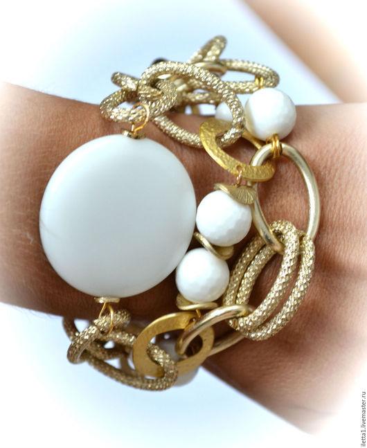"""Браслеты ручной работы. Ярмарка Мастеров - ручная работа. Купить Браслет """" Белое в золоте """"  (Агат). Handmade. Белый"""