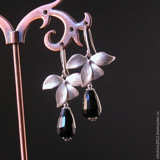 """Серьги ручной работы. Ярмарка Мастеров - ручная работа. Купить Серьги """" Орхидеи. Агаты"""". Handmade. Длинные серьги, серебряный"""