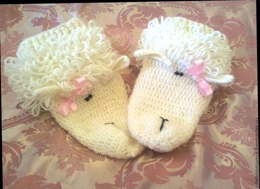 Носки, Чулки ручной работы. Ярмарка Мастеров - ручная работа. Купить носки овечки. Handmade. Белый, Носки шерстяные, полушерсть