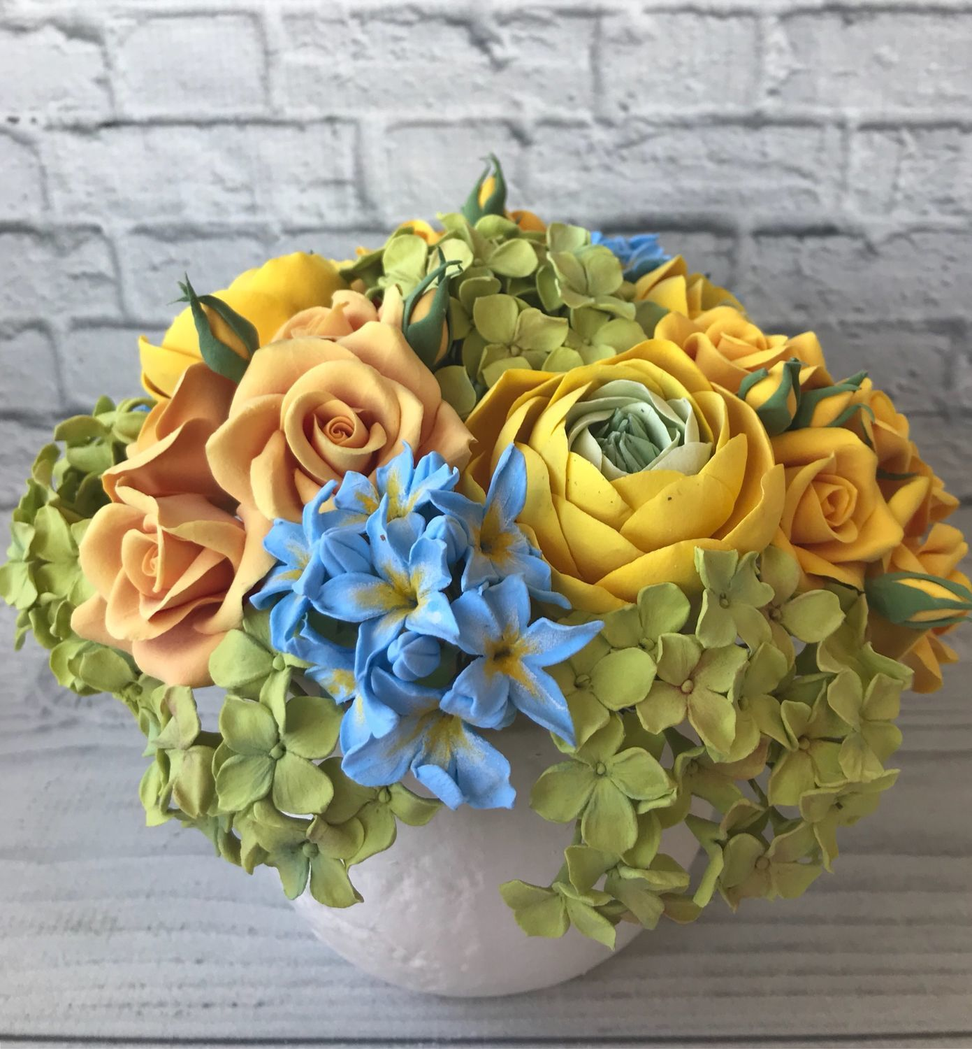 Bouquet of flowers in yellow and blue, Composition, Voskresensk,  Фото №1