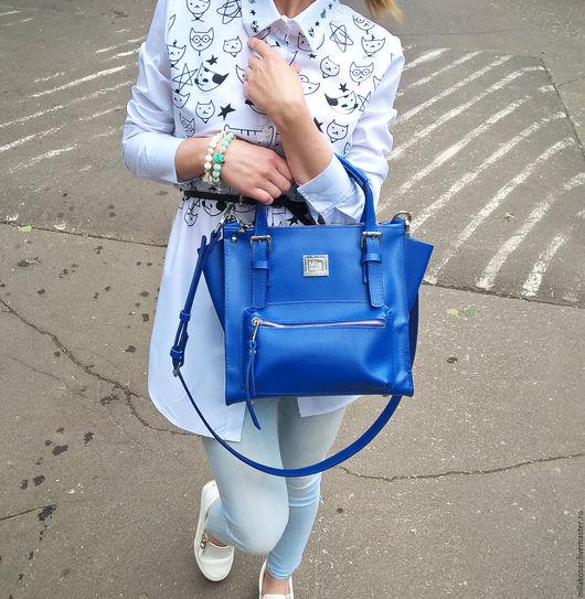 Женские сумки ручной работы. Ярмарка Мастеров - ручная работа. Купить Женская кожаная сумка. Handmade. Синий, сумка на осень