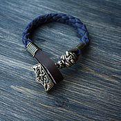 Браслет из бусин ручной работы. Ярмарка Мастеров - ручная работа Кожаный браслет - Молот Тора. Handmade.