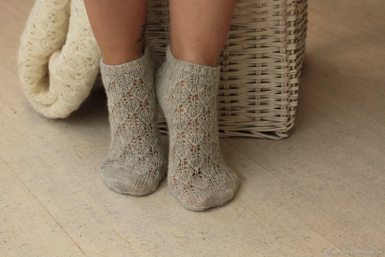 Openwork socks thin grey 'Leaves', Socks, Moscow,  Фото №1