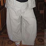 Одежда ручной работы. Ярмарка Мастеров - ручная работа Льняной костюм брюки  жакет большой размер 60. Handmade.