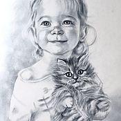Картины и панно ручной работы. Ярмарка Мастеров - ручная работа Лиза и котик. Handmade.