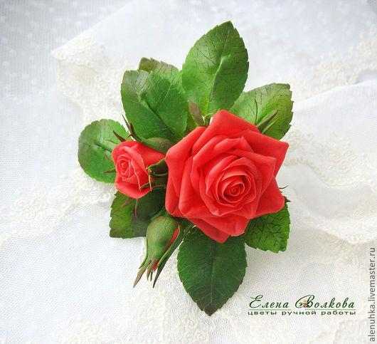 """Заколки ручной работы. Ярмарка Мастеров - ручная работа. Купить Заколка с розами  """"Berta"""". Handmade. Украшение для волос, искусственные цветы"""