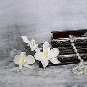 Свадебный салон handmade. Livemaster - original item Hair barrettes white Orchid femeli bow prom wedding. Handmade.
